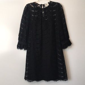Milly black lace 3/4 ssleeves shift dress sz 8